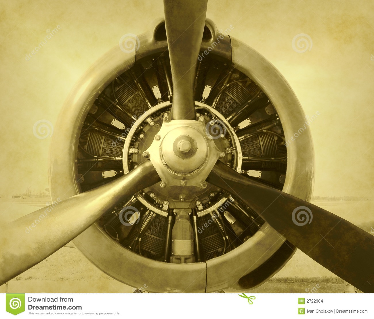 Artificially aged photo of airplane engne and propeller.