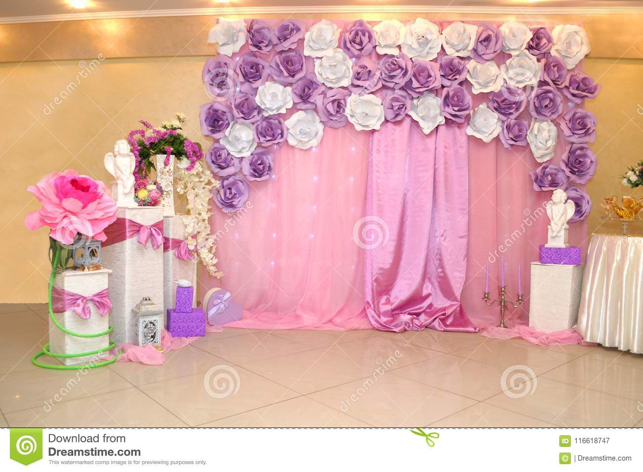 Photo Wall For Childrens Birthday Photo Wall For Girls Stock