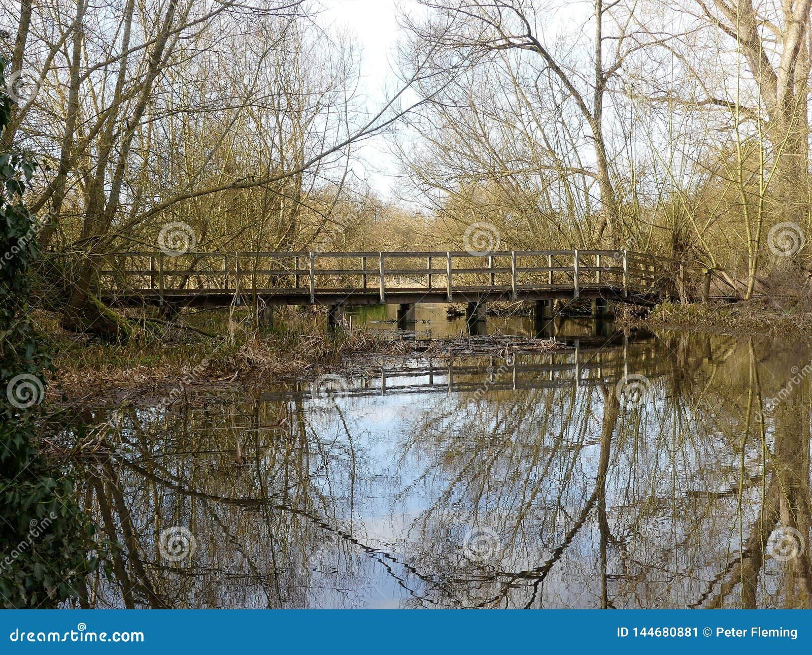 Wooden Bridge over River Chess, Chorleywood