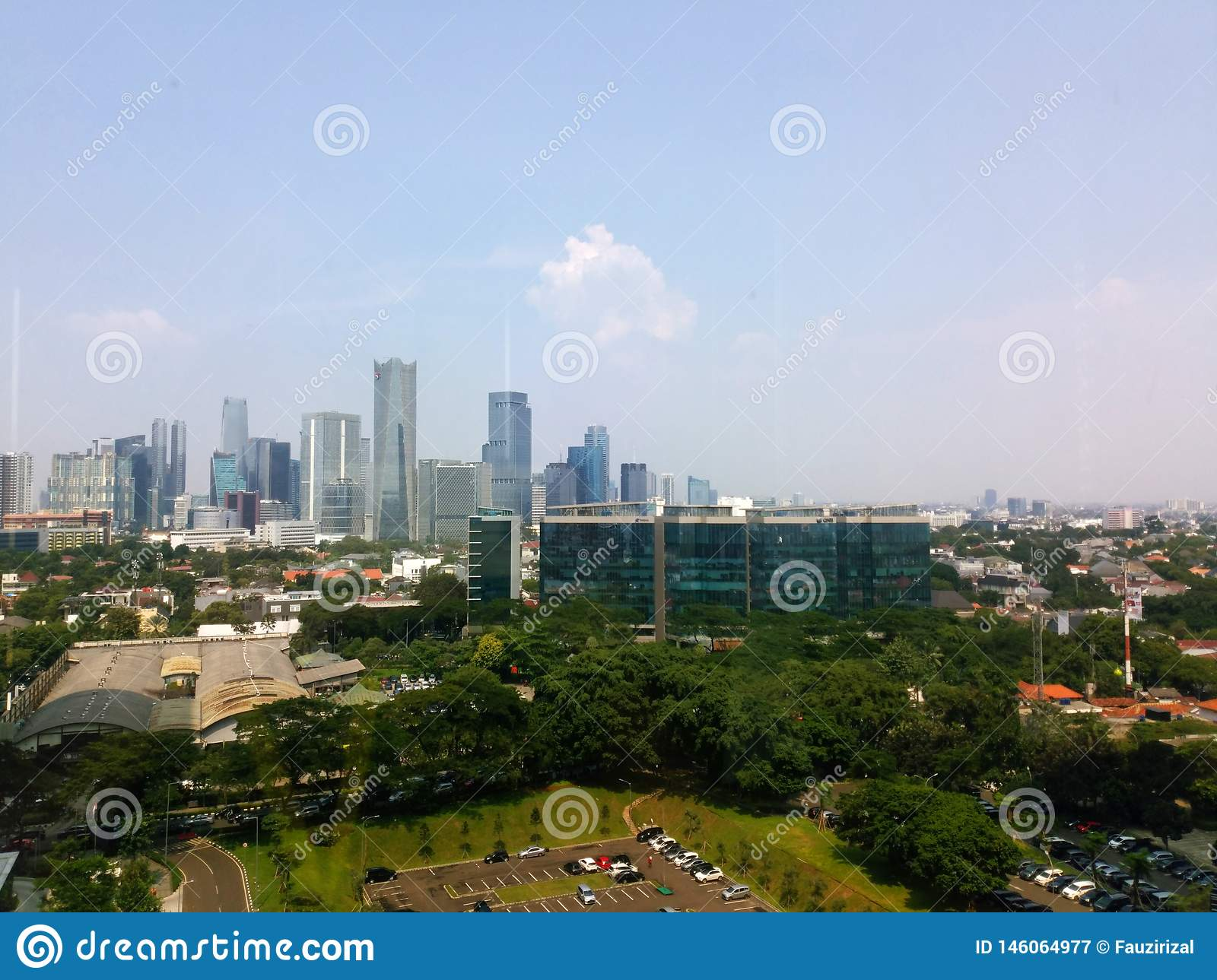 Jakarta building view with morning Blue sky. Jakarta Cityscape view from rofftop