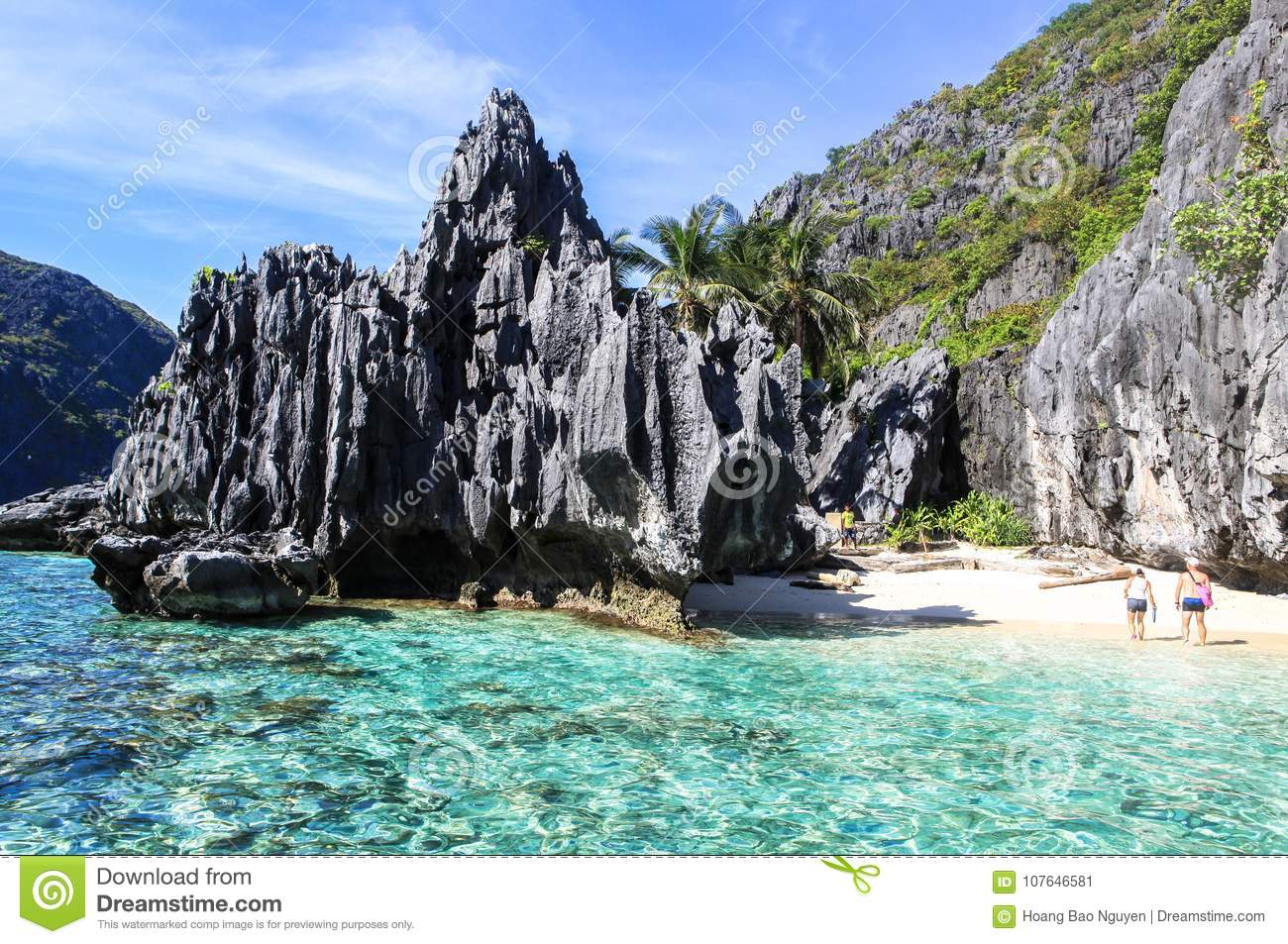 Boats On The Beach Of El Nido Philippines Editorial Photo
