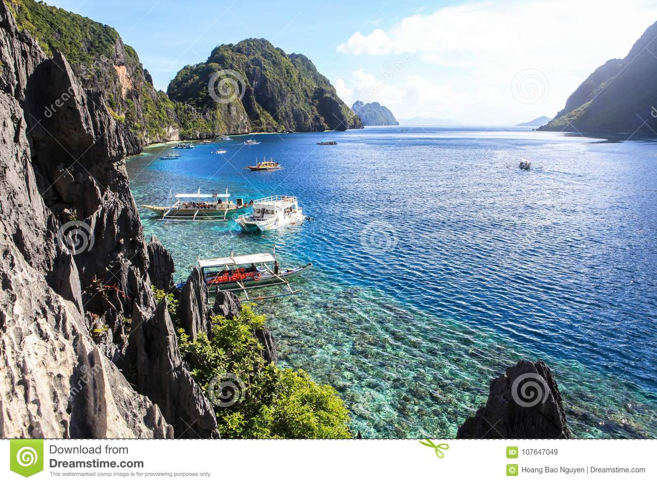 Boats On The Beach Of El Nido Philippines Editorial Stock