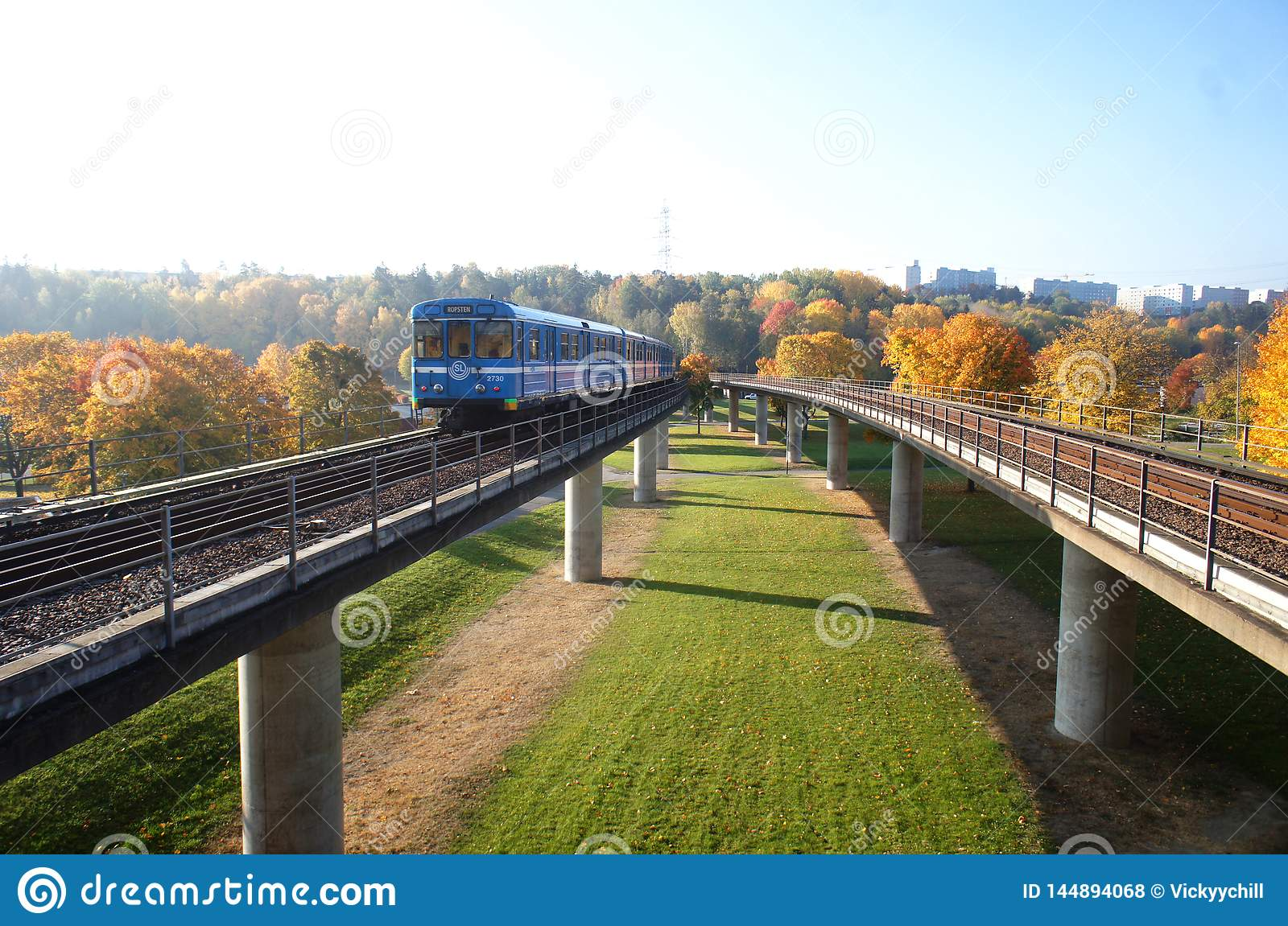 The train with fall view in Stockholm