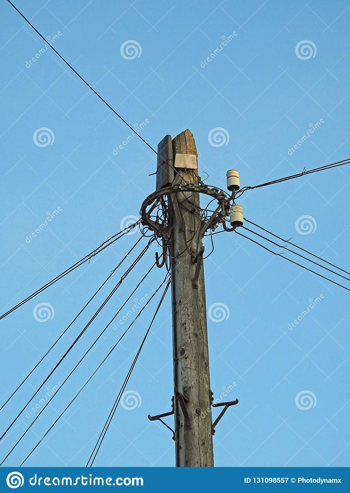 Telegraph Communications Pole Wiring Junction Stock Image ... on