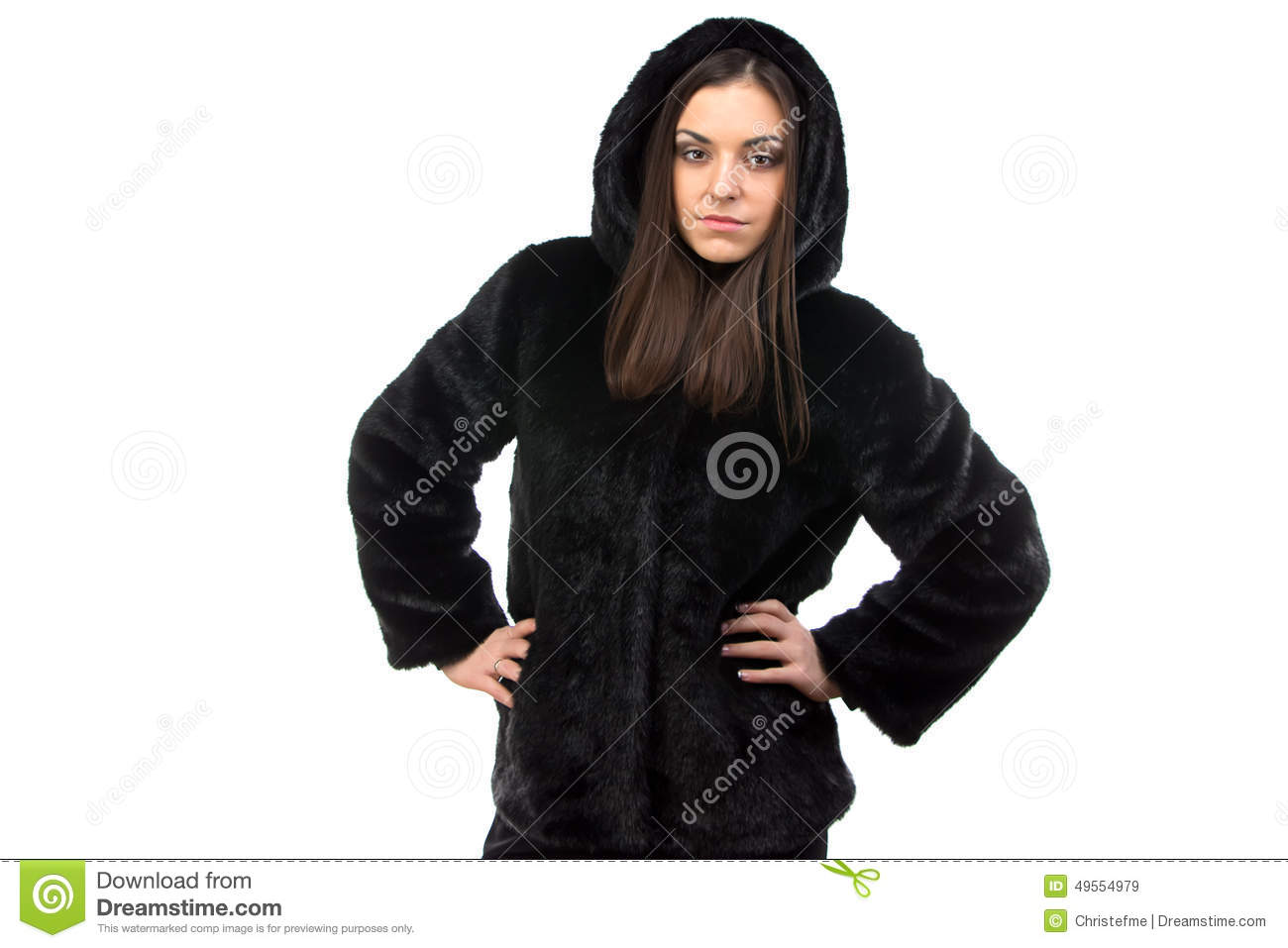 Photo Of Woman In Black Fur Coat With Hood Stock Photo - Image