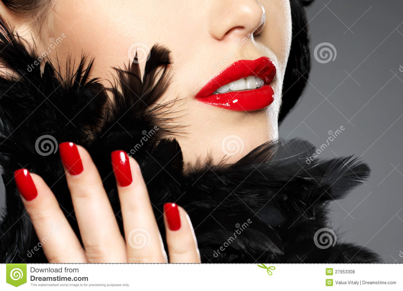 Woman With Fashion Red Nails And Sensual Lips Stock Image - Image of ...
