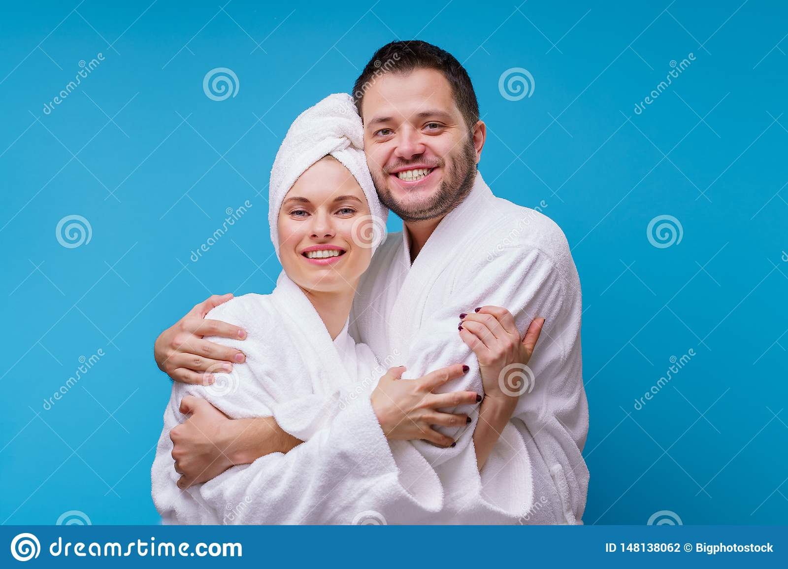 Photo Of Woman And Man In Bathrobe Hugging Themselves Stock Photo Image Of Cotton Happy 148138062