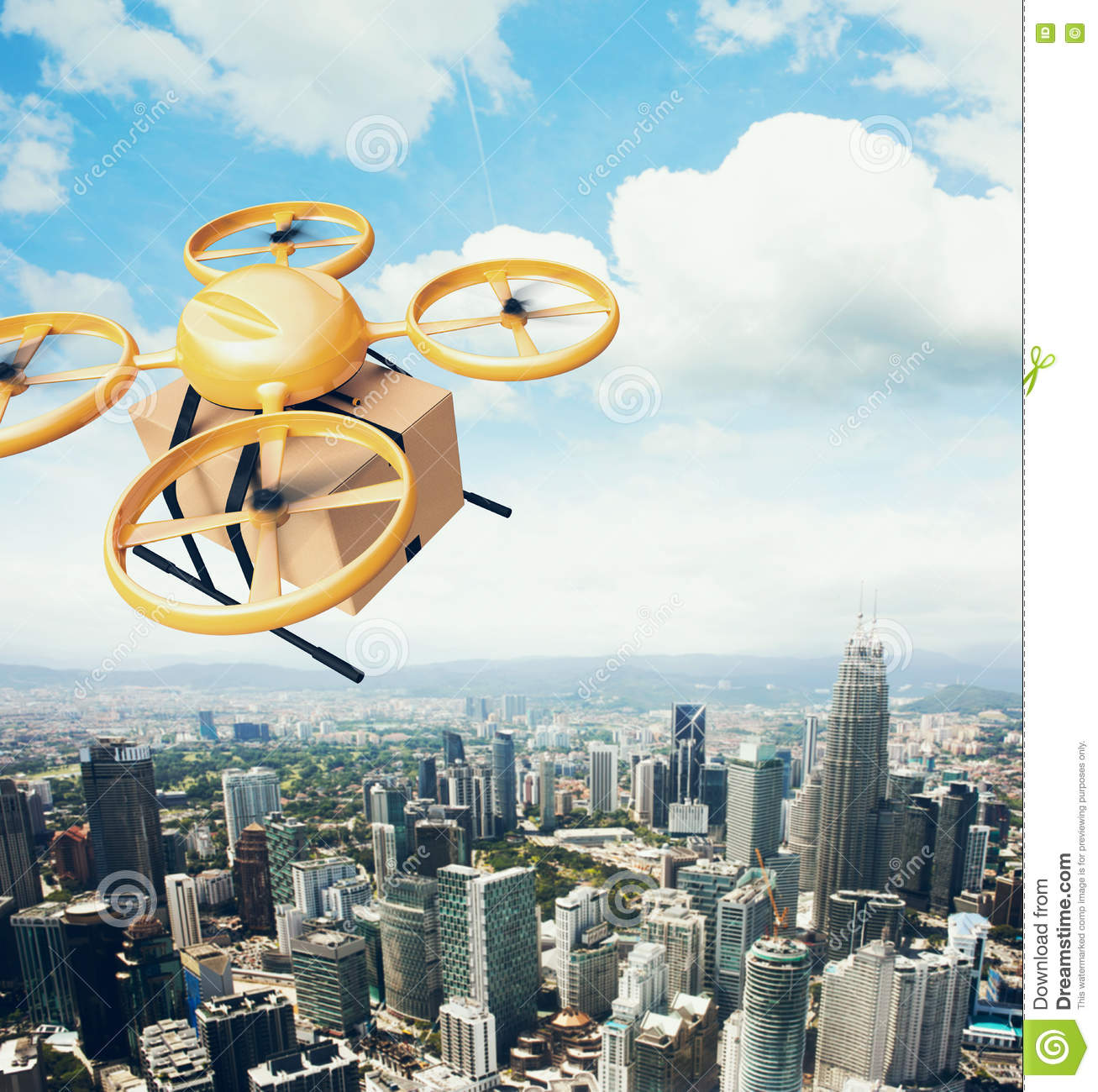 Photo Yellow Generic Design Remote Control Air Drone Flying Sky Empty Craft Box Under Urban Surface.Modern City