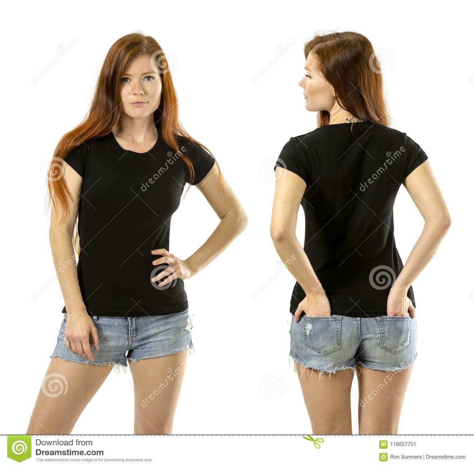 black shirt with Redhead