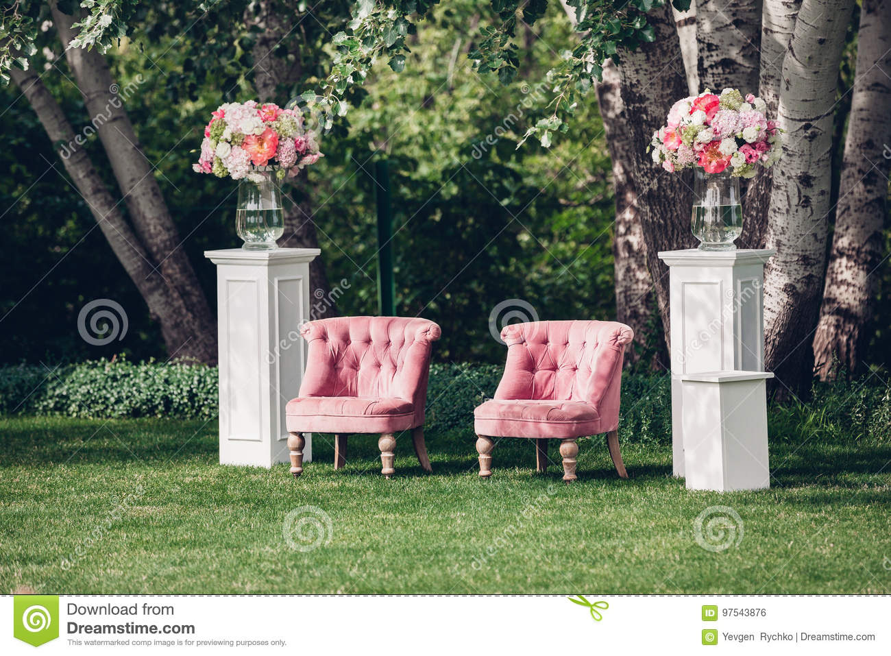 Photo Zone With Beautiful Armchair At A Wedding Decorated Stock