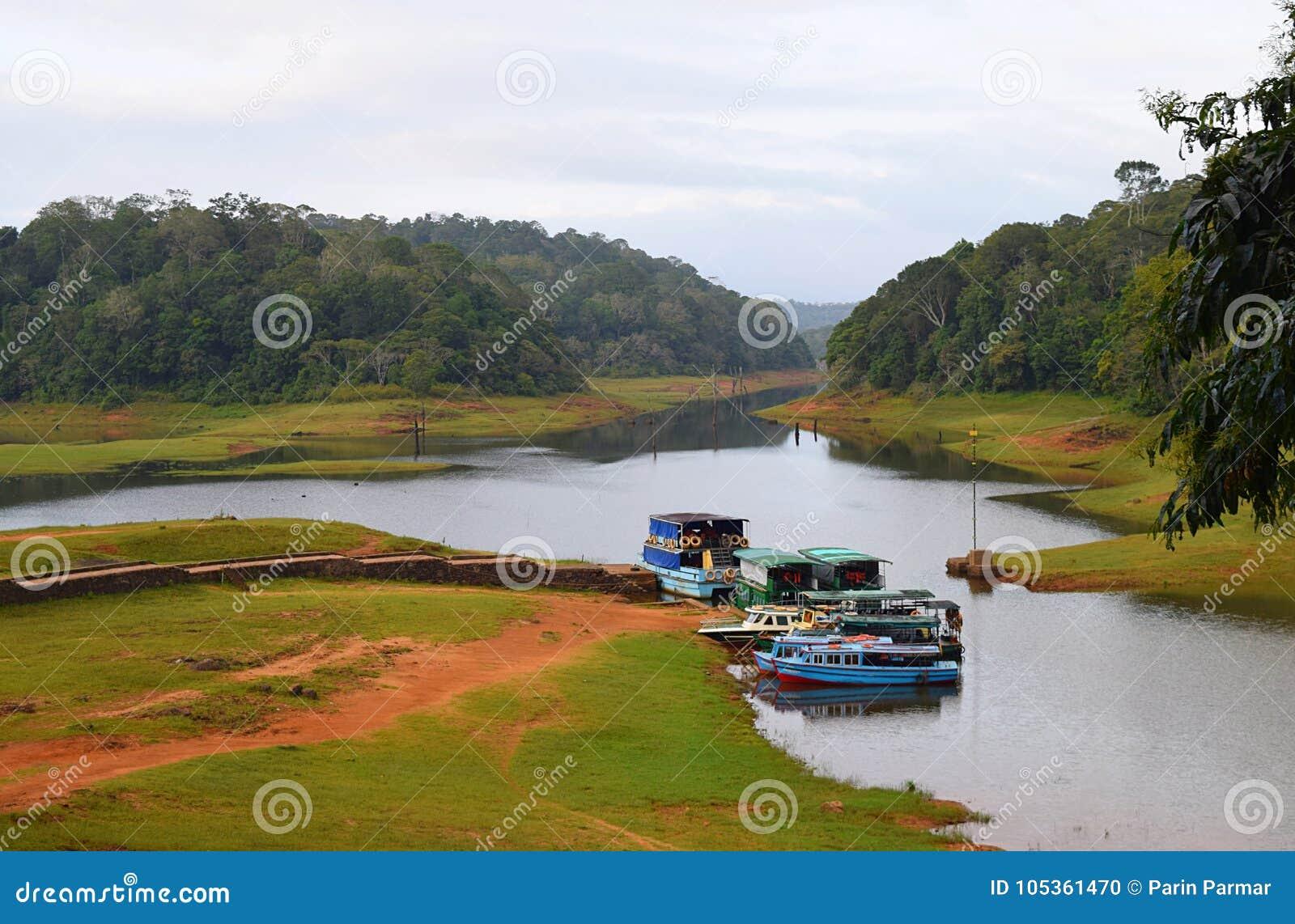 Boats in Periyar Lake and National Park, Thekkady, Kerala, India