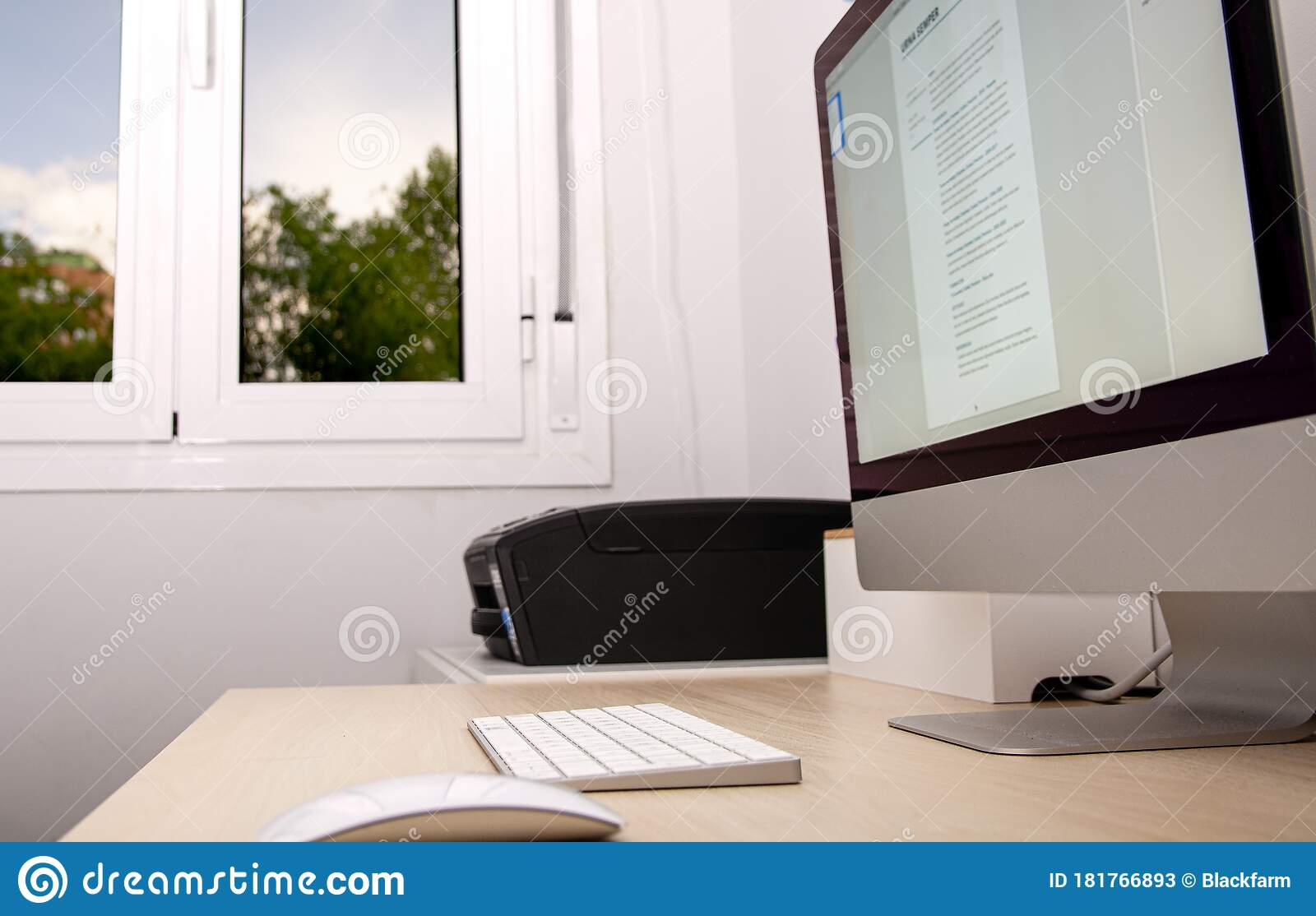 Home Office For Teleworking With A Window And A Nice Background Outside Stock Image Image Of Architecture Confinement 181766893
