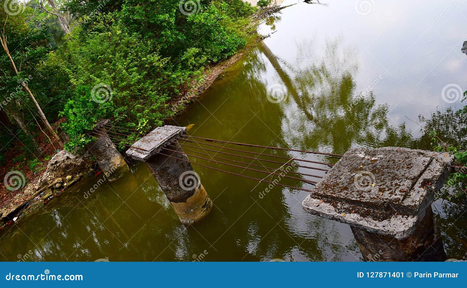Damaged and Destroyed Bridge following Tsumani - Natural Disaster