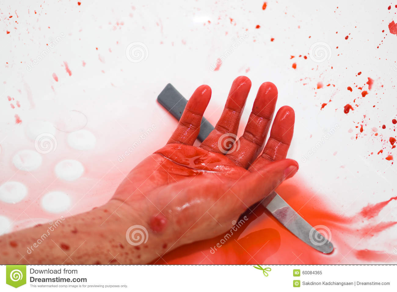 Photograph Of A Knife And It's Full With Blood Stock Image ...
