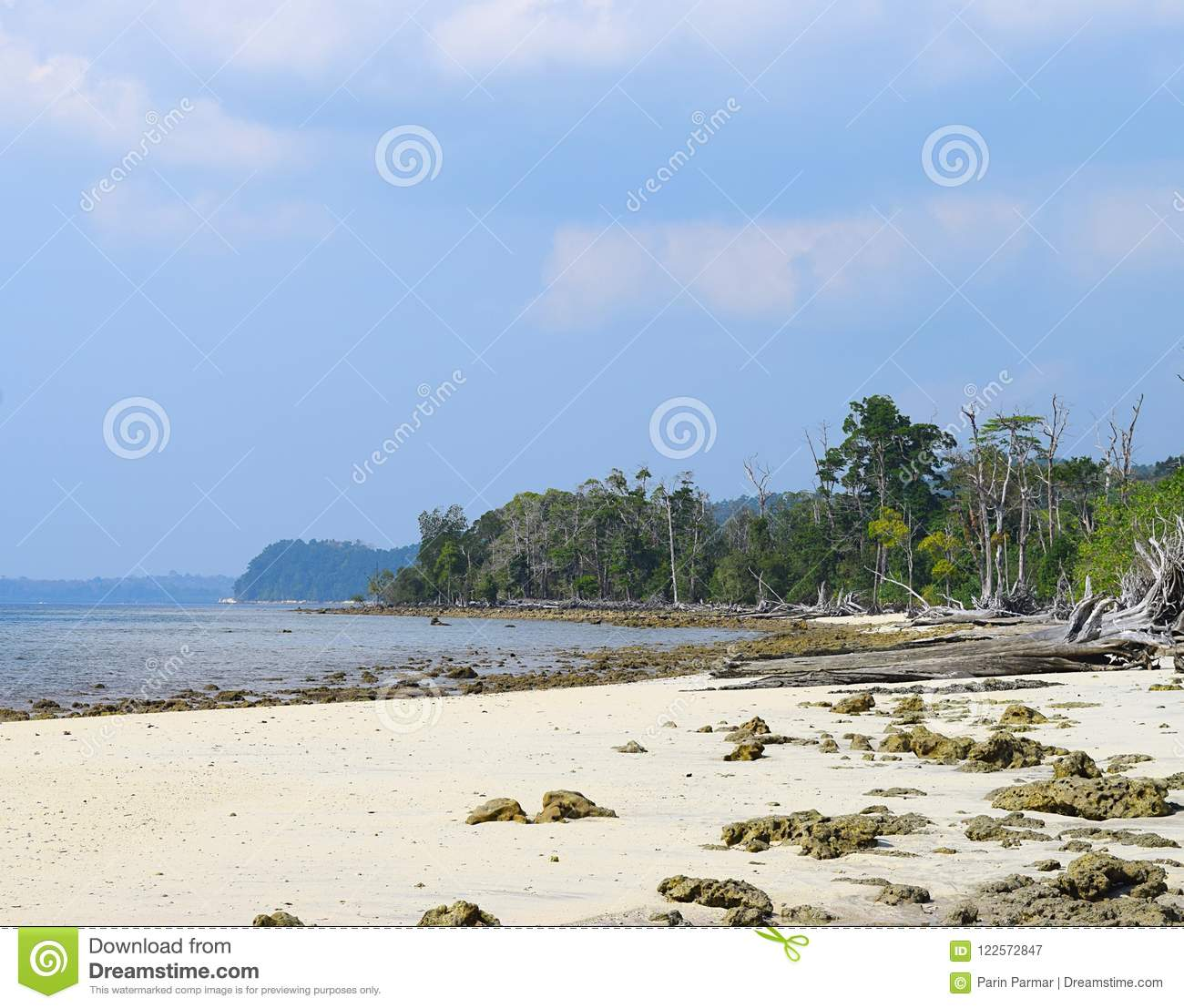 Havelock Island: Peaceful Rocky Elephant Beach With Sea Mohua Trees And
