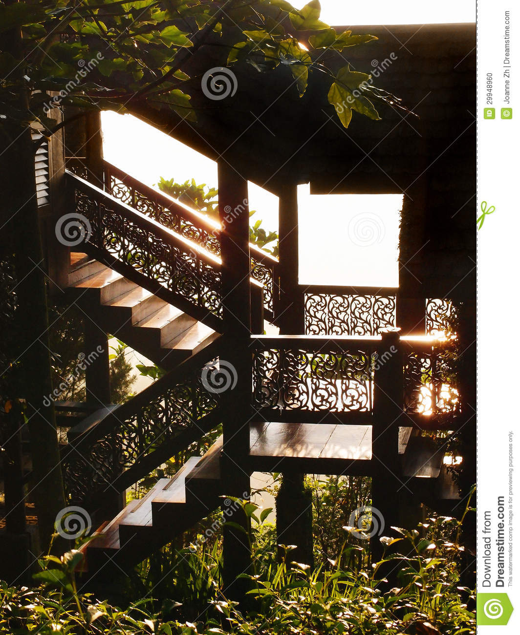 Home Design Thailand: Thai Traditional Timber House Details In Sunlight Stock