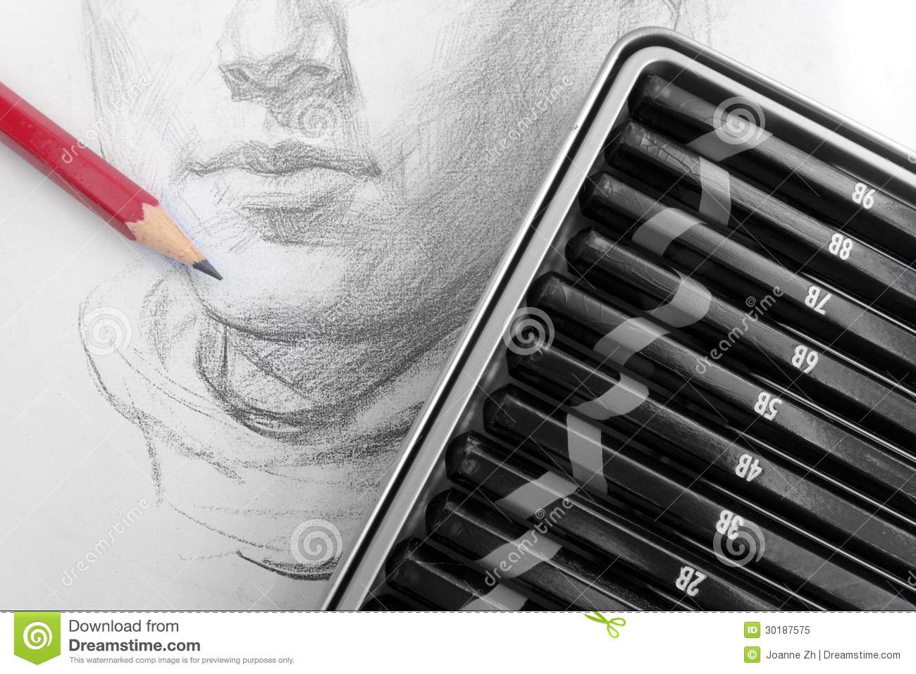 Learning pencil sketching stock image image of study 30187575