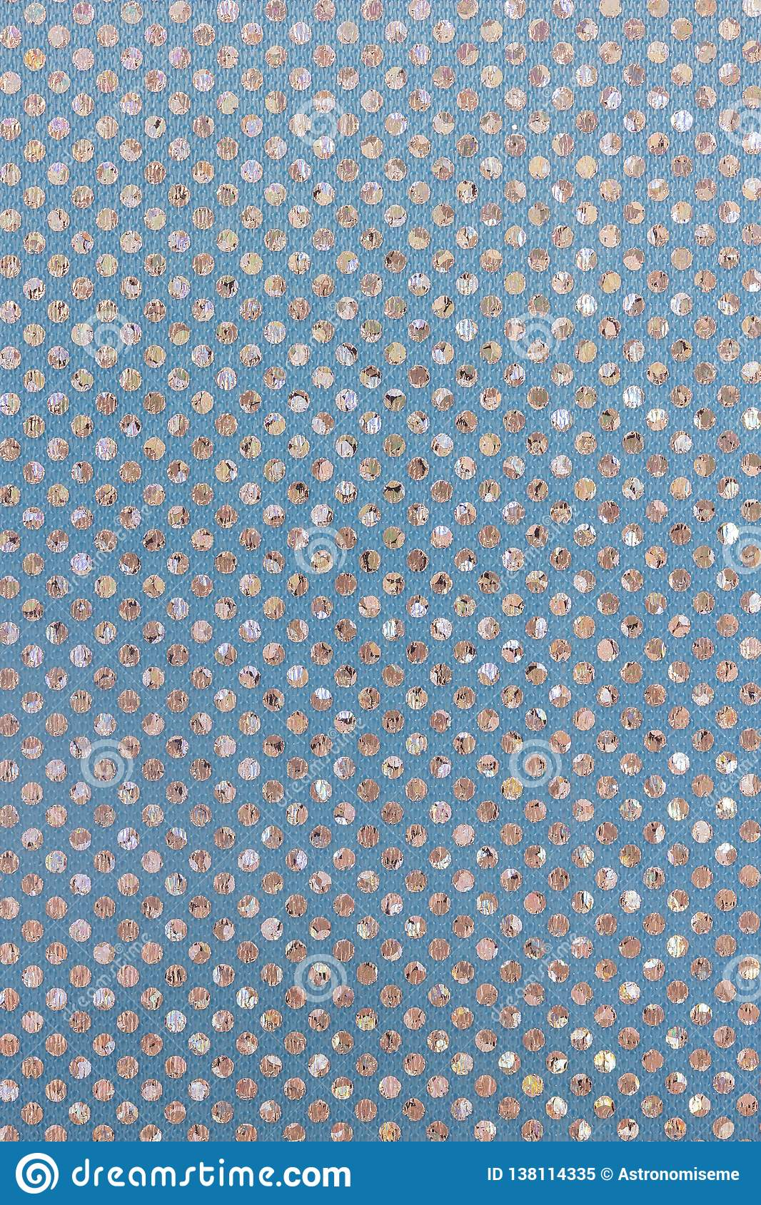 Silver polka dots on a blue background