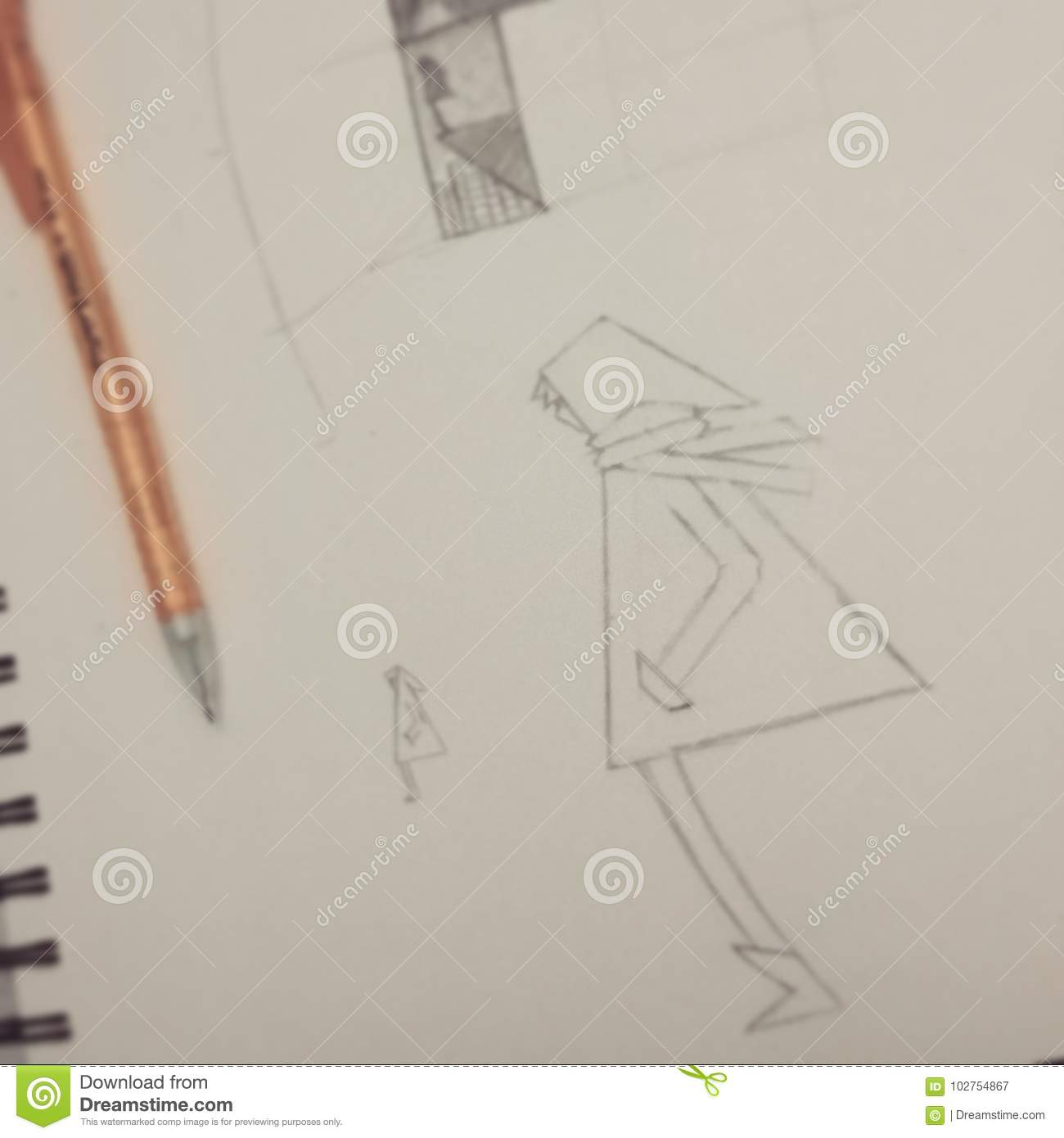 An abstract drawing of a lonely boy in a sketchbook with a mechanical pencil