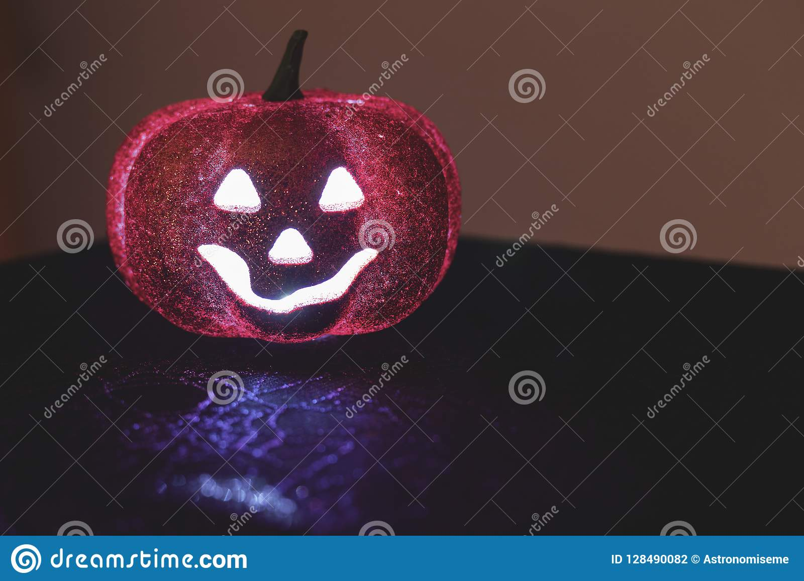 Halloween Pumpkin Decoration Stock Photo Image Of Glittering