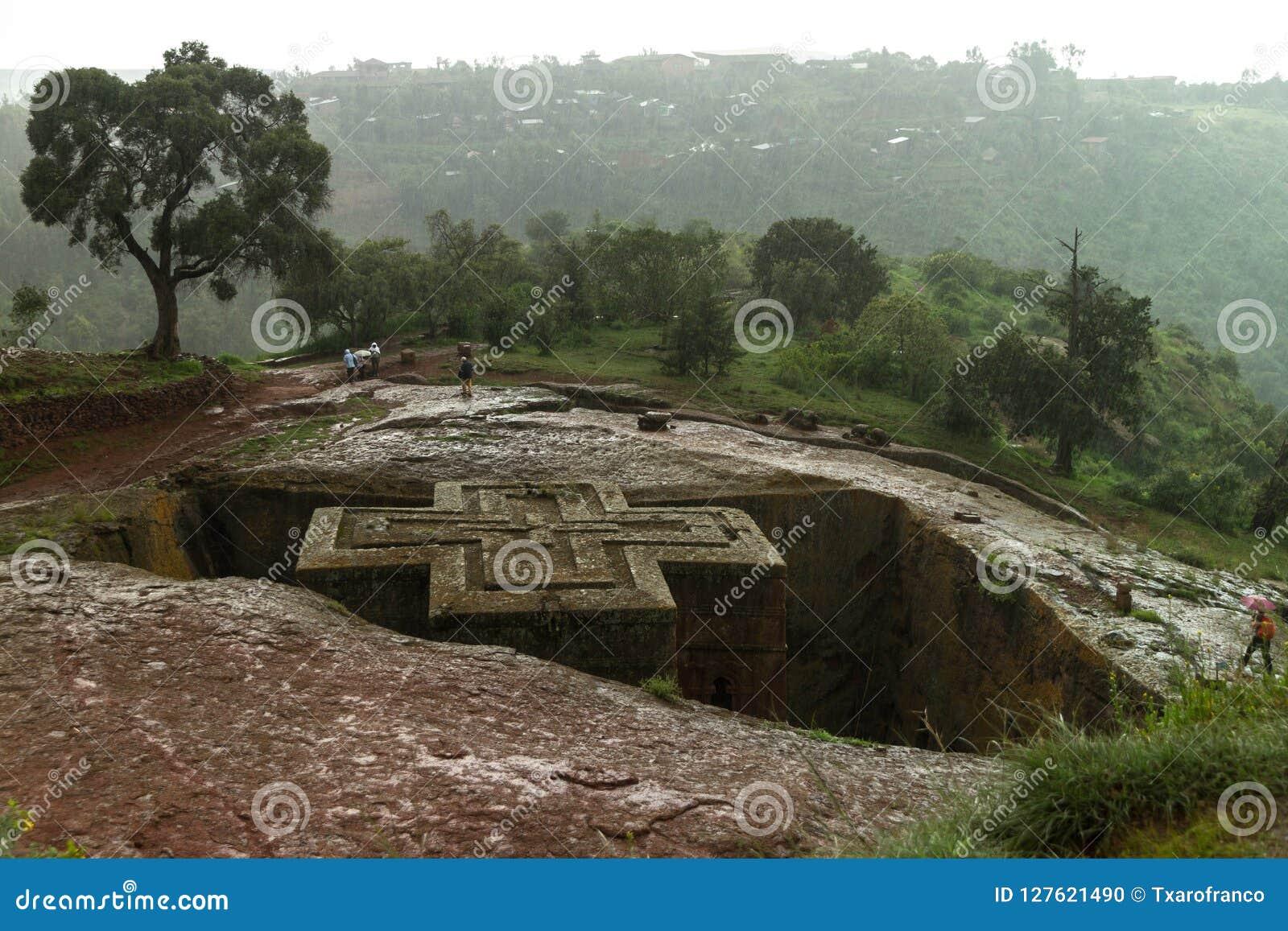 Very rainy day in Lalibela. Ethiopia.