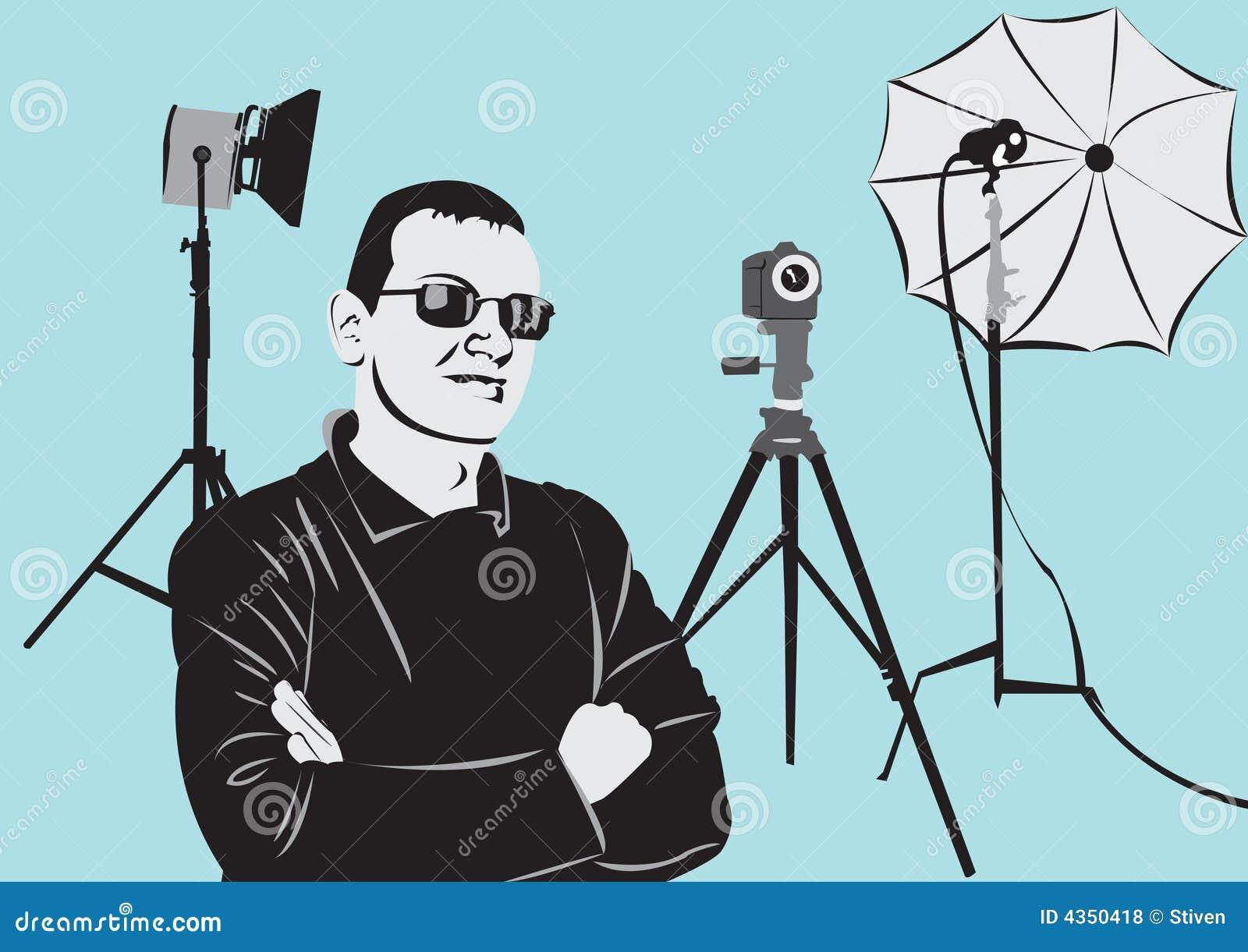 Photographe dans le studio de photo
