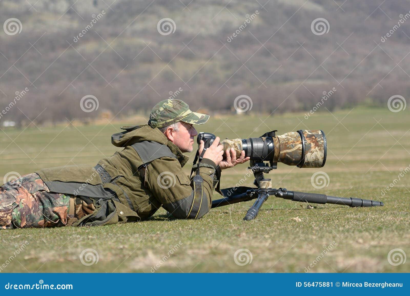 Photographe de faune extérieur dans l action
