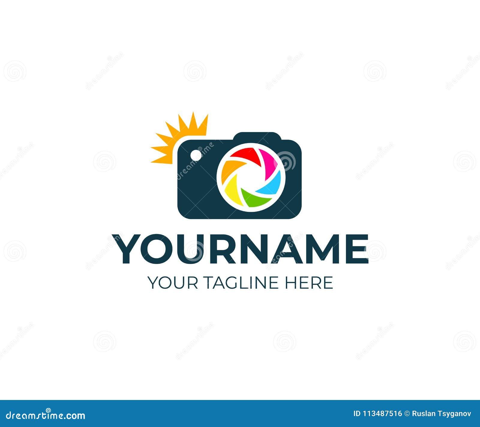 Photographe et appareil-photo avec l éclair et la lentille, calibre de logo Studio de photographie et photographie, conception de