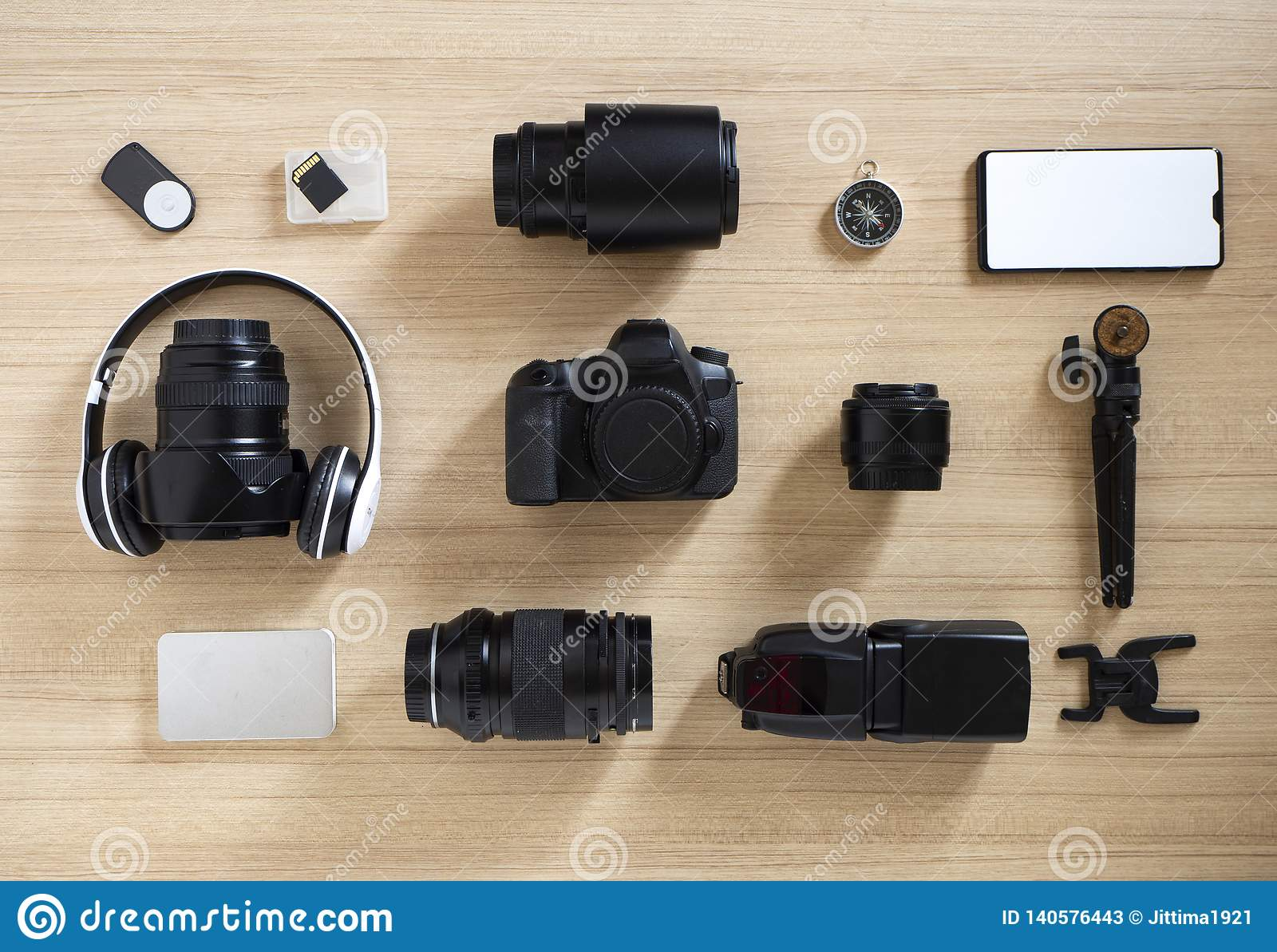 Photographer' attrezzature ed accessori di s su legno