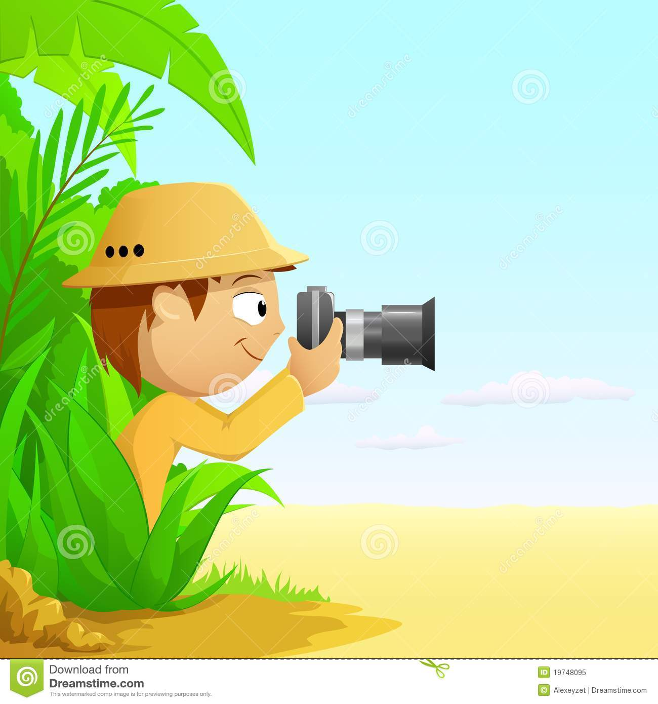 ... similar stock images of ` Photographer cartoon hunter in rainforest
