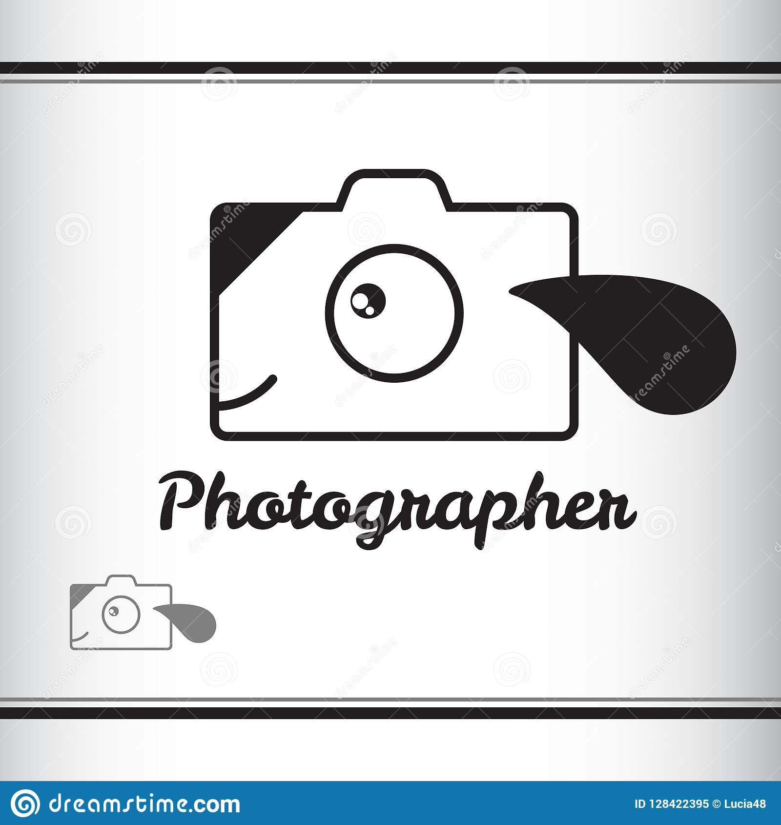 Photographer Logo Puppy Dog Camera Stock Illustration