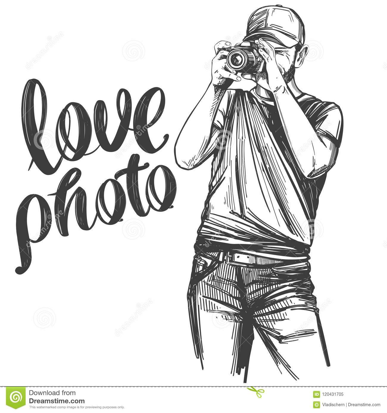 Photographer Love Photo Calligraphy Text Hand Drawn