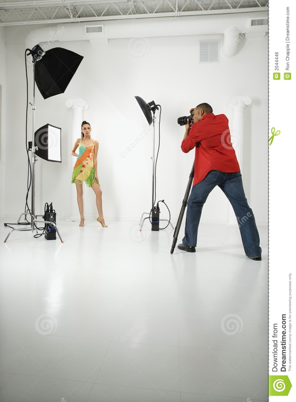 Photographer with a model.