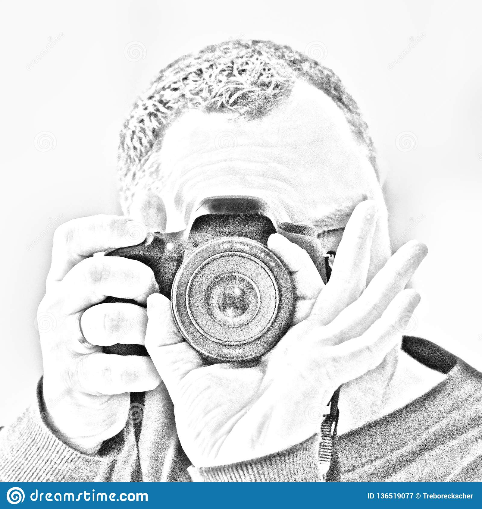 Photographer in self portrait looks through a camera and photographs himself in a mirrow the image is in pencil drawing look