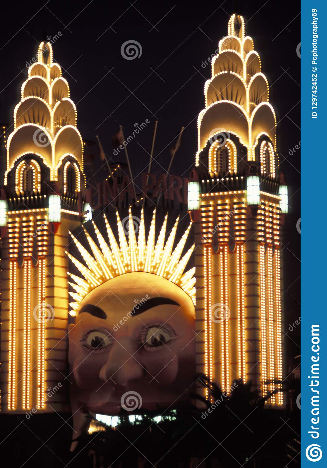 Sydney Luna Park at night editorial photography  Image of australia