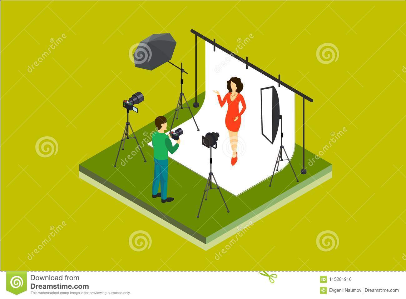 Photographer shooting model in studio. Photo equipment digital camera, softbox, spotlight, backdrop, umbrella. Isometric