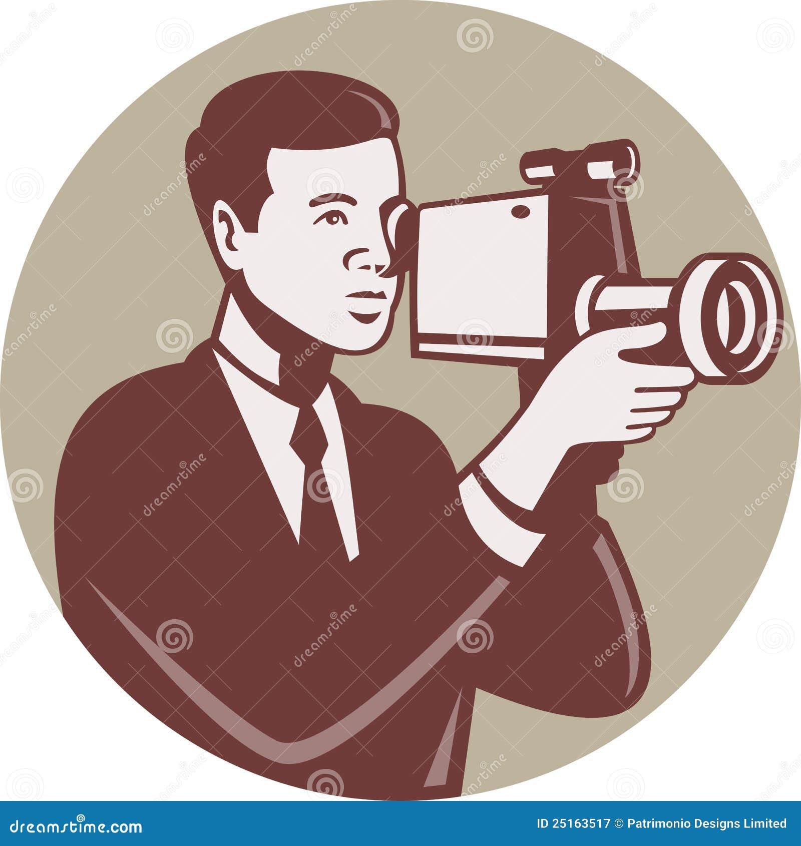 download photographer shooting video camera retro stock vector illustration of camera illustration 25163517