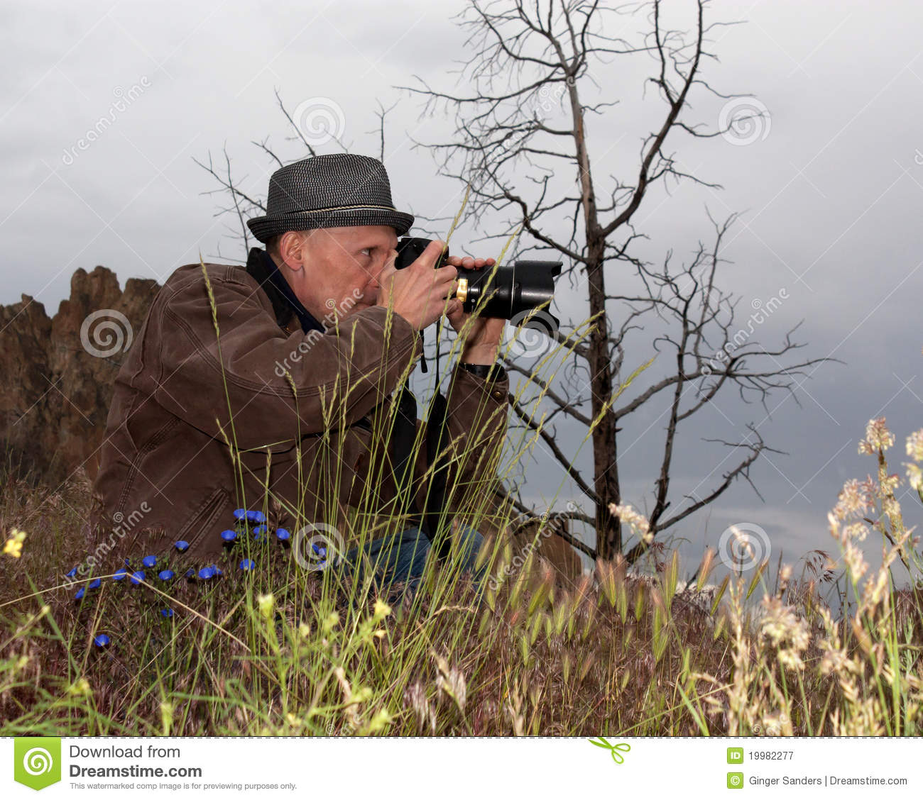 Photographer In The Wildflowers
