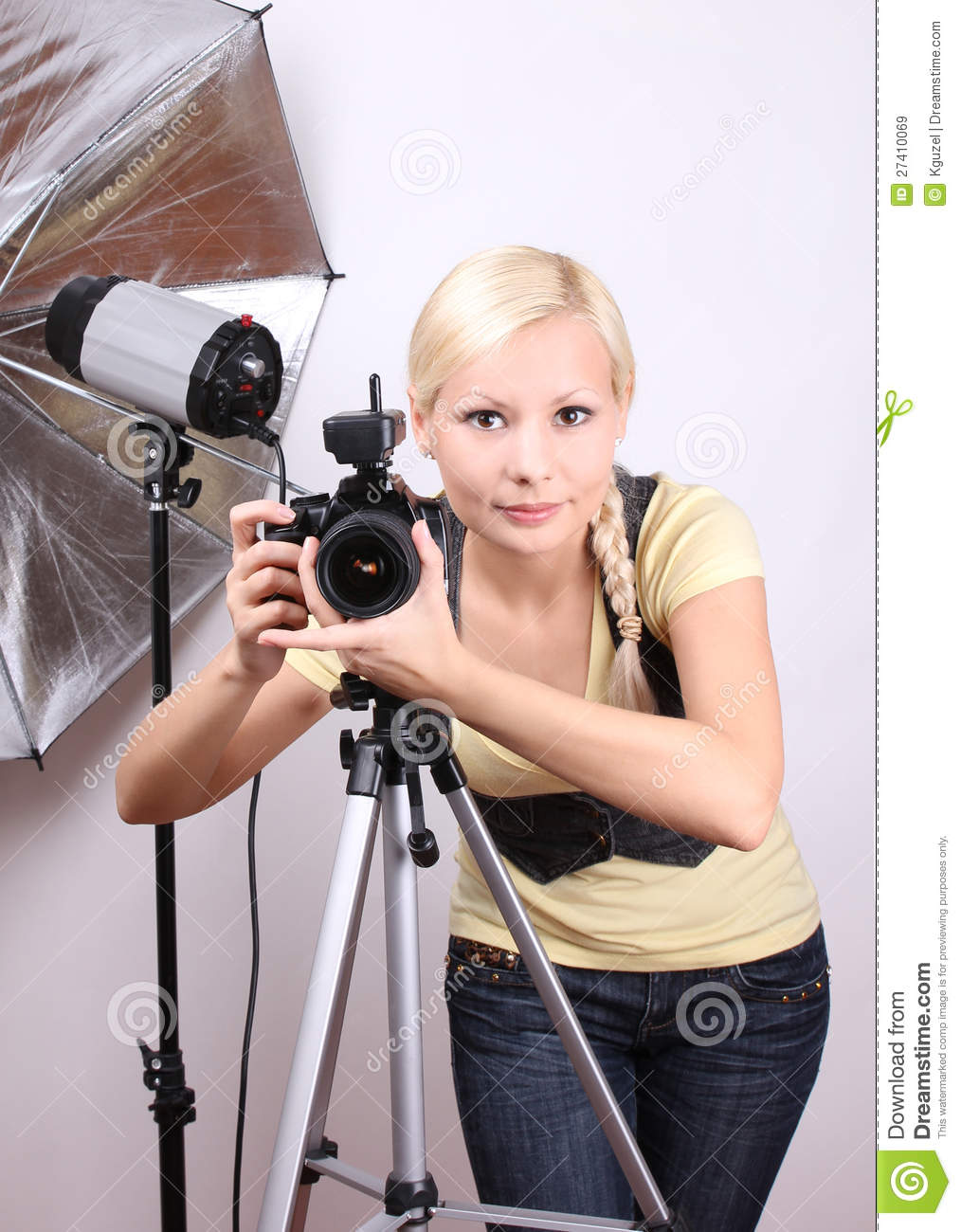 Photographer Young Beautiful Girl With Camera Stock Image