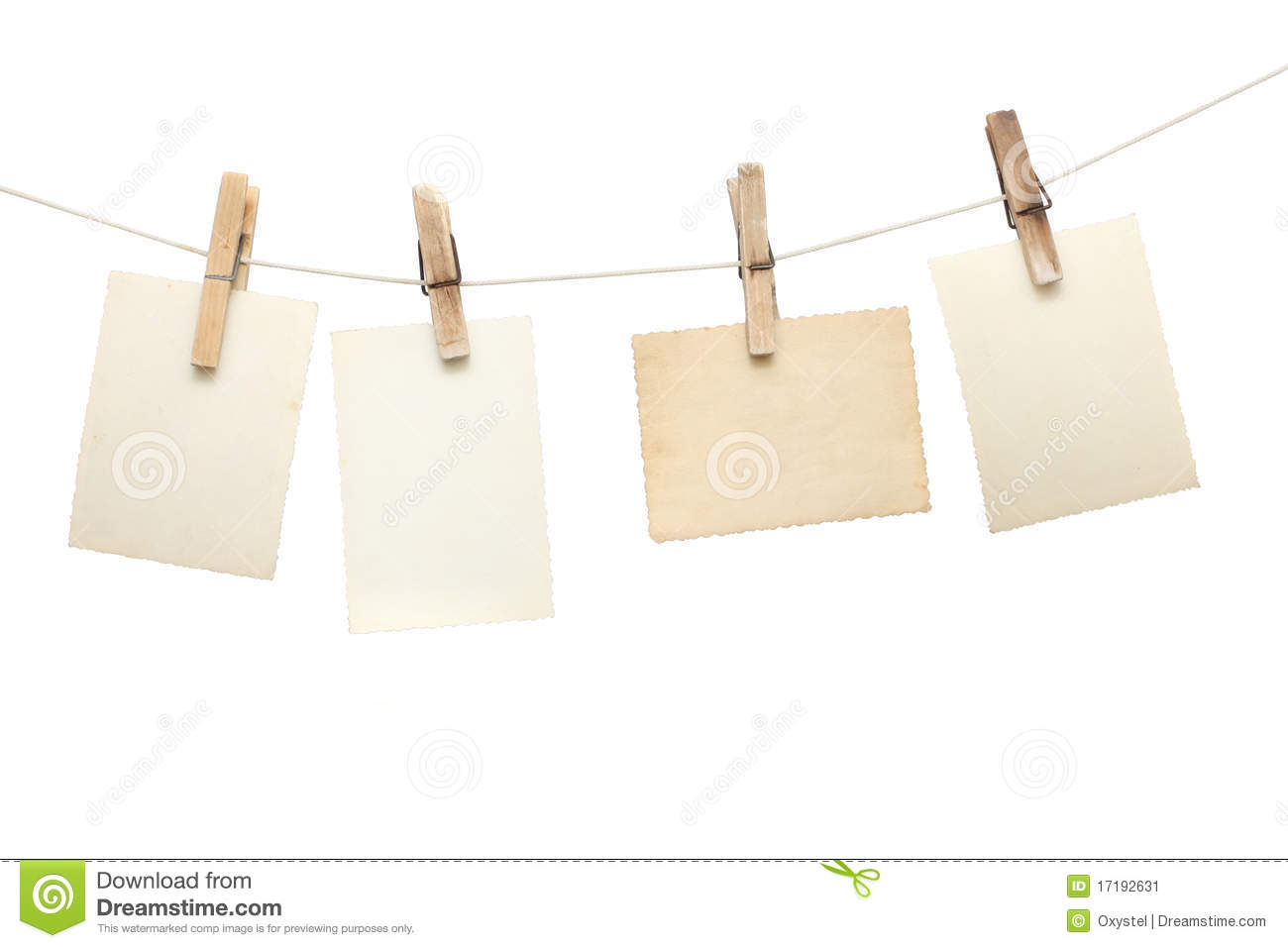 Photographs Hang On The Clothespin Stock Image Image