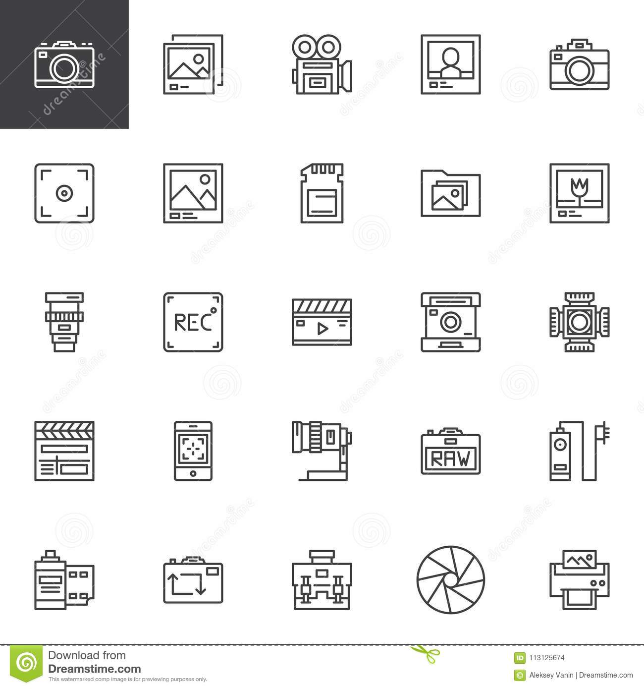 Photography accessories outline icons set