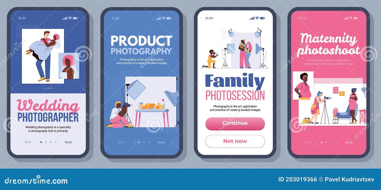 Photography App Banner Set Cartoon People On Photo Shoot Stock Vector Illustration Of Photograph Phone 203019366