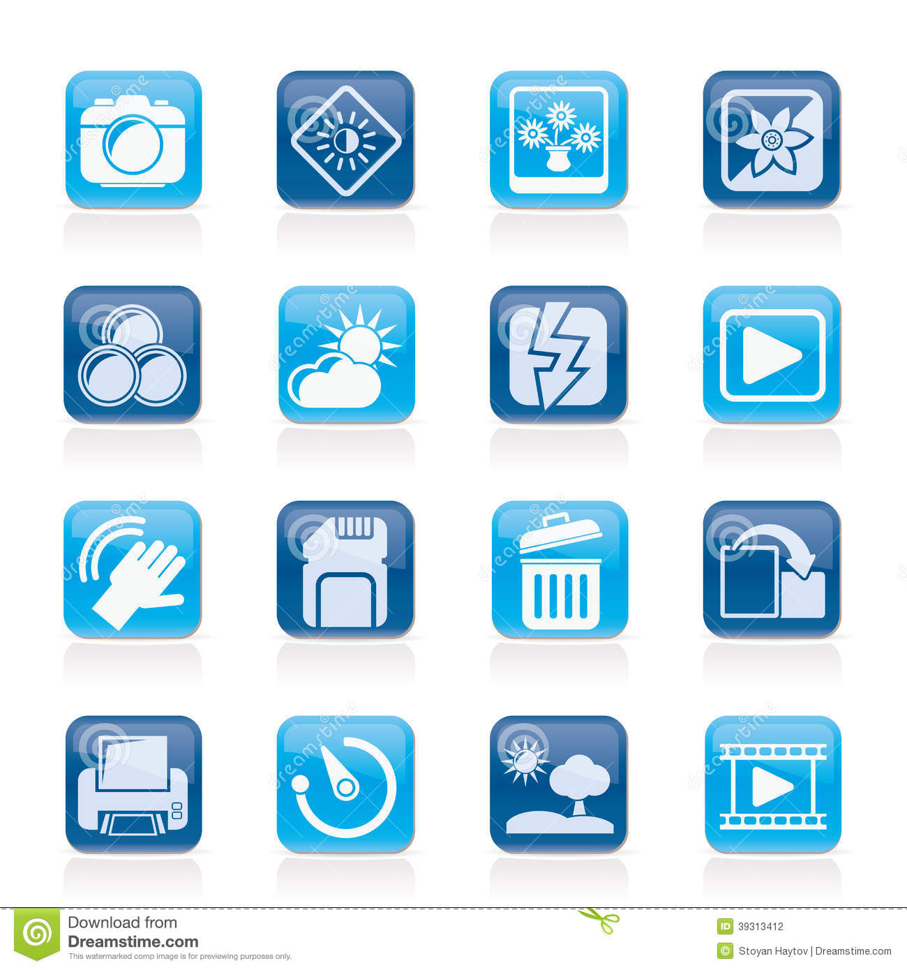 photography and camera function icons stock vector image