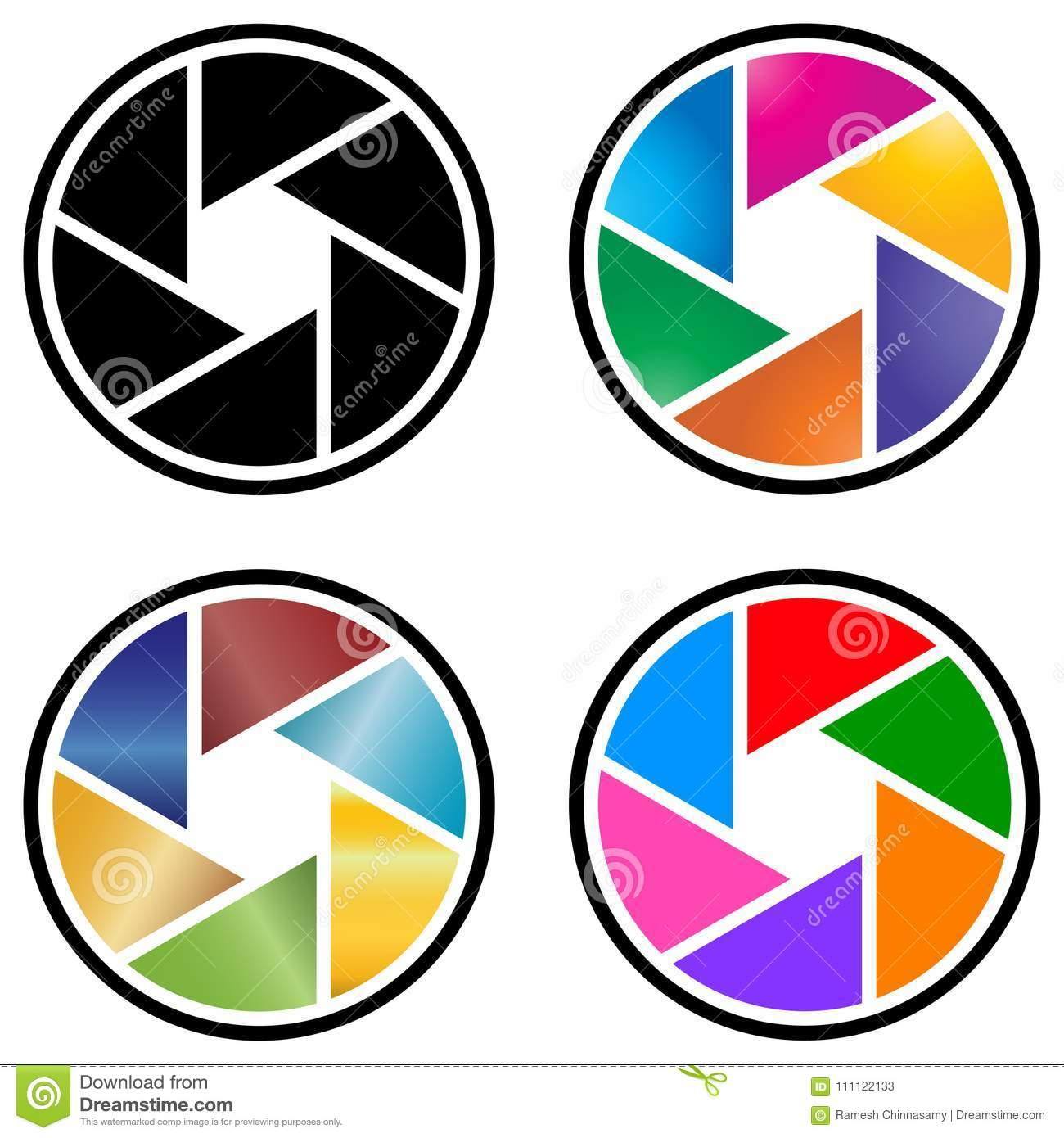 Photography camera lens logo with colorful design