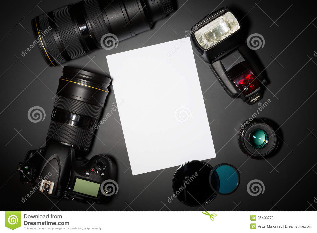 Photography concept with camera lense and copyspace