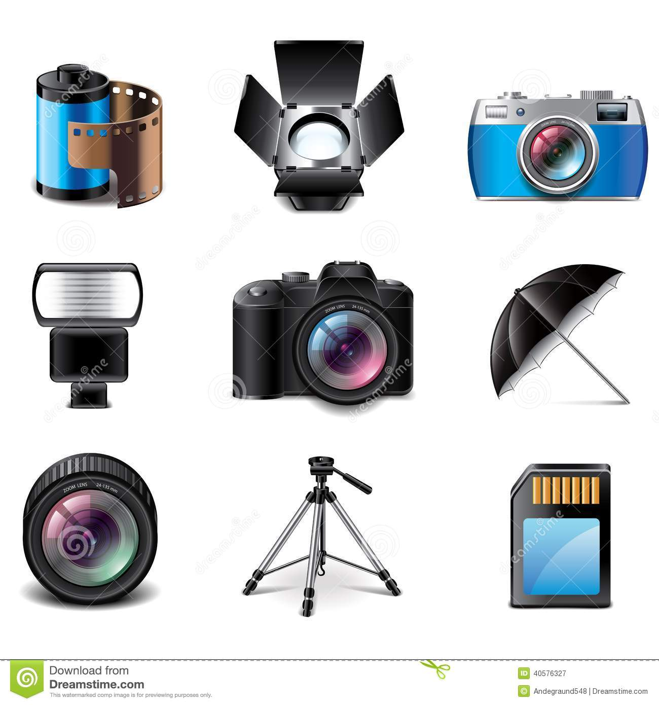 Photography Equipment Icons Vector Set Stock Vector - Illustration ... for Camera Equipment Clipart  45ifm