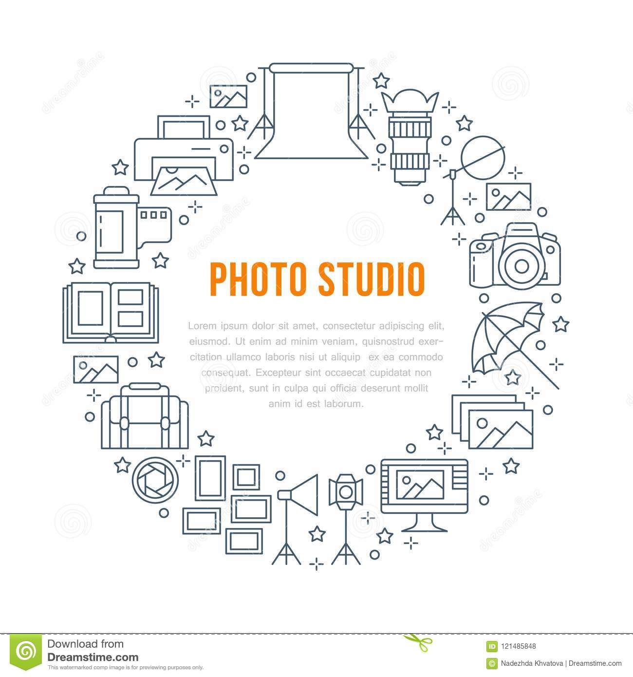 Photography Equipment Poster With Flat Line Icons Digital Camera Lighting Diagram Photos Video Cameras