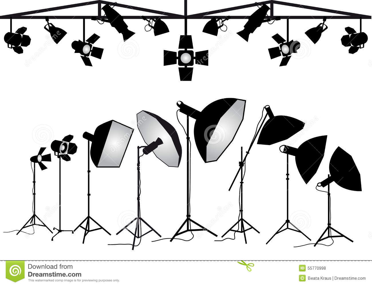 Drawing Floor Plans Free Photography Lighting Equipment Vector Set Stock Vector