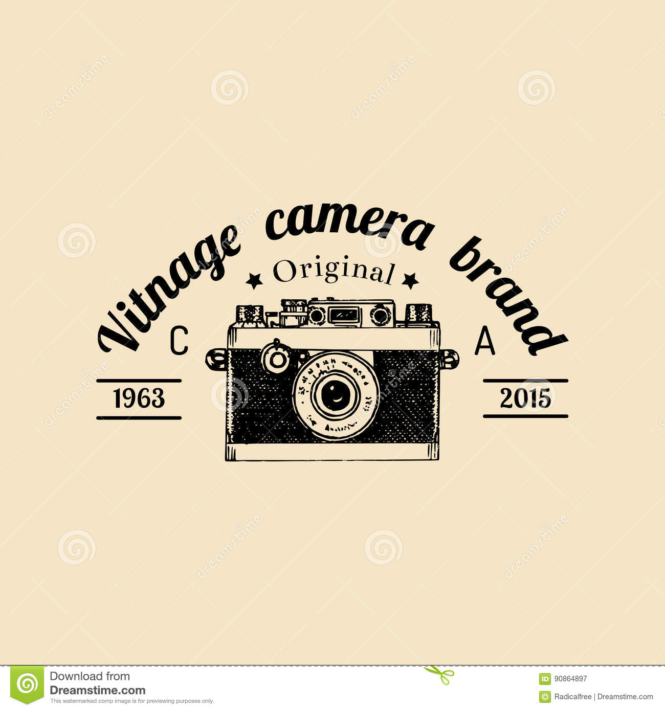Photography Logo Vector Vintage Old Camera Label Badge Emblem