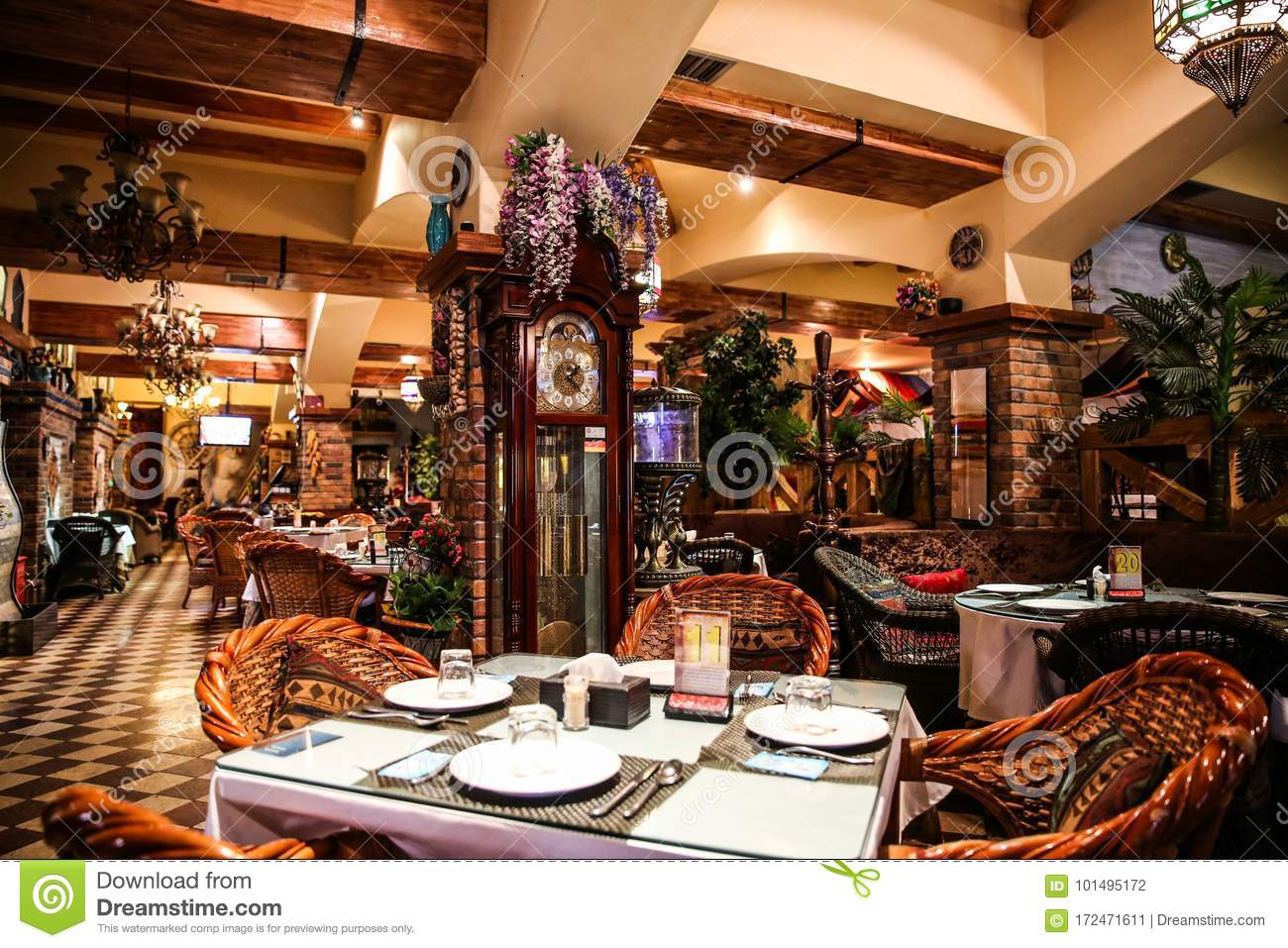 Restaurant stock photo  Image of chandeliers, chair - 101495172